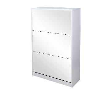 GLS White Wooden Mirrored Shoe Cabinet Storage w/ 3 Doors