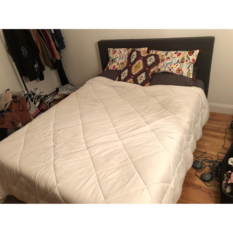 Dark Grey Upholstered Queen Bed-0