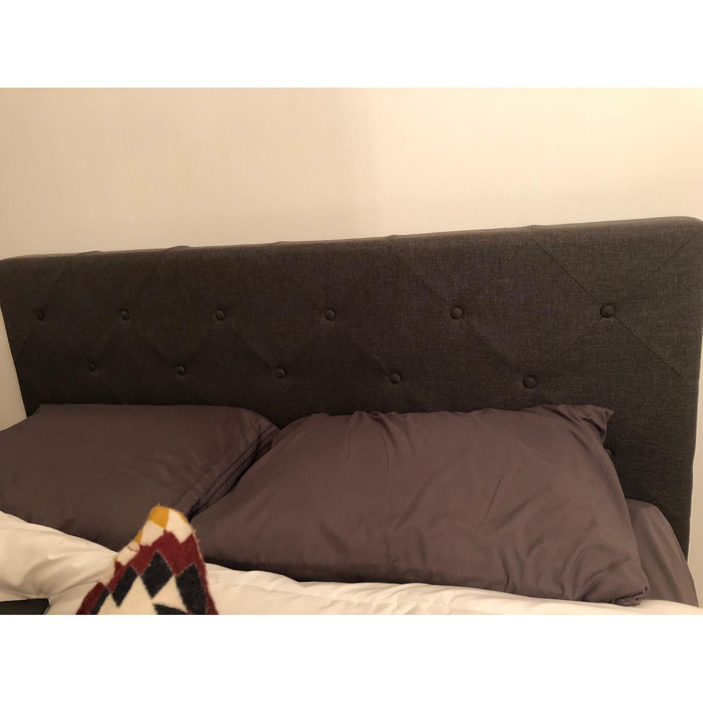 Dark Grey Upholstered Queen Bed-2