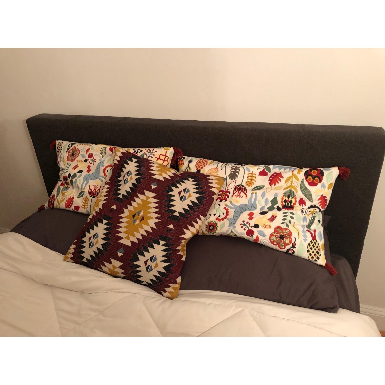 Dark Grey Upholstered Queen Bed-3