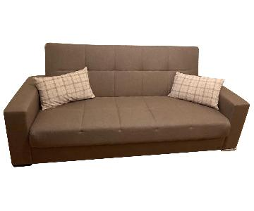 Brown Tufted Convertible Sofa