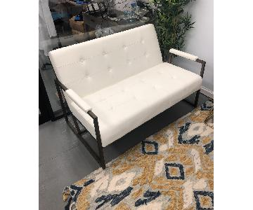 White Faux Leather Loveseat