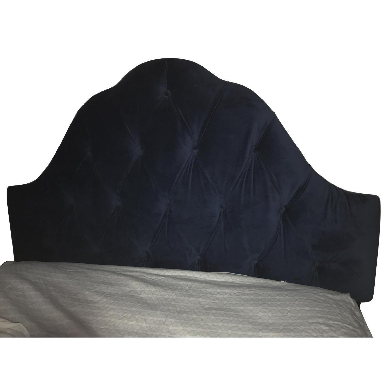 Blue Velvet Tufted Full Headboard