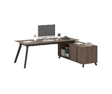 Ameriwood Industries Mid-Century Style Large Office Desk