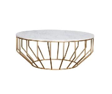 Everly Quinn Marble Drum Coffee Table