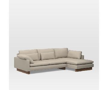 West Elm 2-Piece Sectional Sofa in Beige Velvet