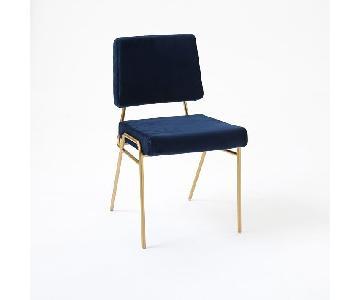 West Elm Dining Chair in Ink Blue Velvet w/ Brass Frame