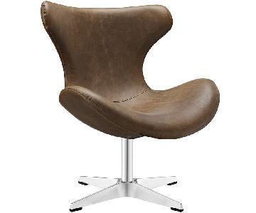 Manhattan Home Design Helm Lounge Chair in Brown