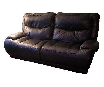 Bob's Black Leather Electric Recliner Sofa
