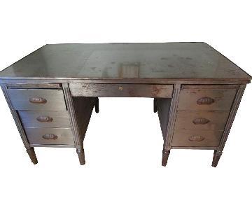 Vintage Industrial Art Deco Metal Desk