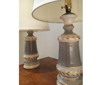 Vintage Grey Lamps w/ Gold Detailing