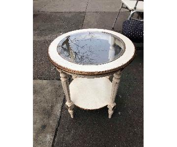 Vintage Wooden Glass Top Side Table