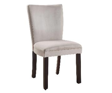 Dining Chair in Grey Microfiber Cushioned Upholstery