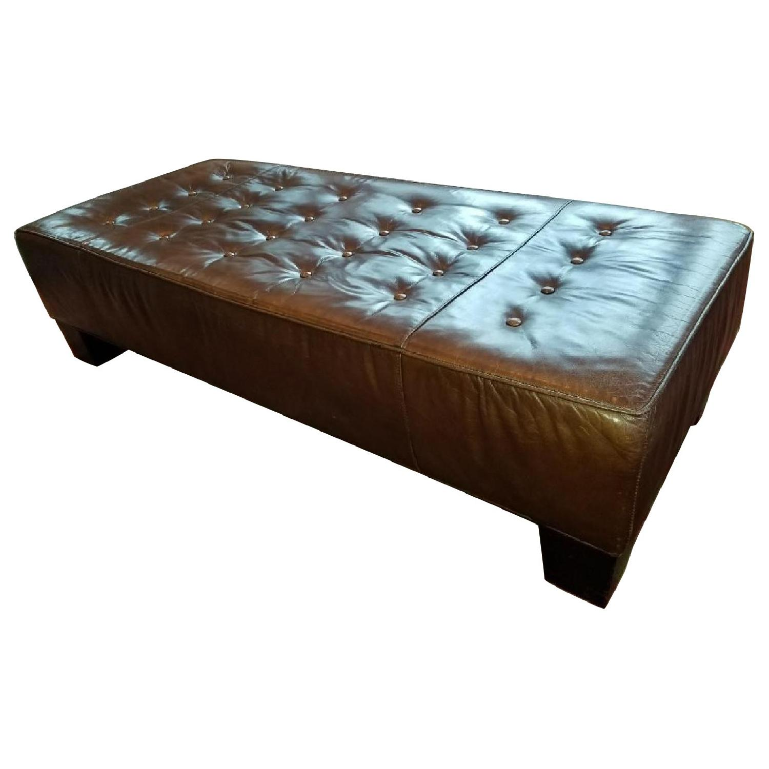 Restoration Hardware Tufted Leather Ottoman Coffee Table