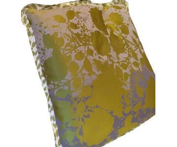 Silk Jacquard Feather Pillows w/ Animal Print Trim
