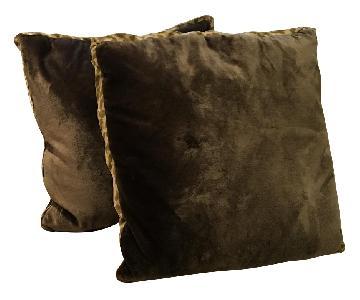 Grey Velvet Feather Pillow w/ Animal Print Trim