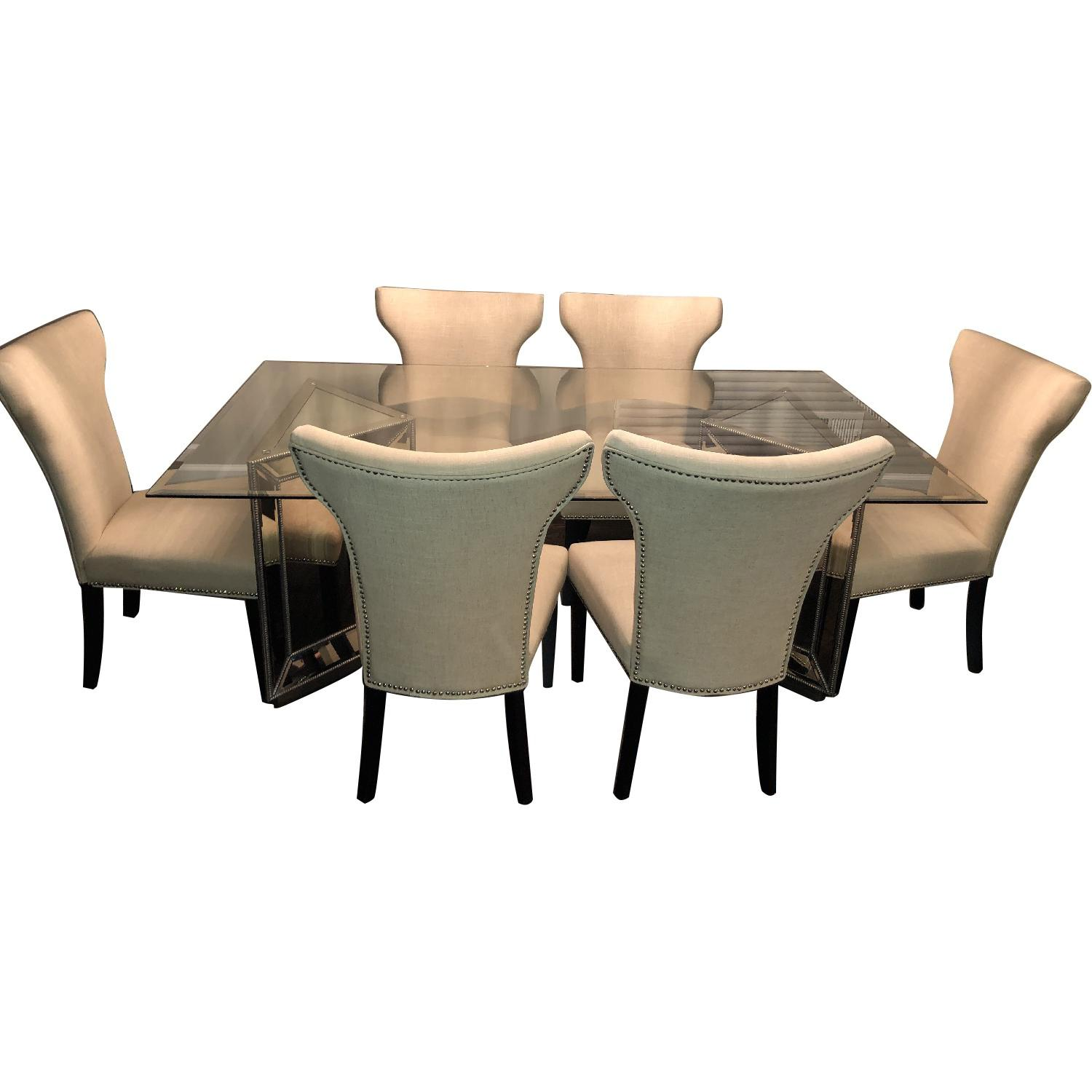 Macy's Contemporary Glass Dining Table w/ 6 Chairs