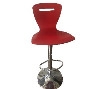 Red & Metal High Counter Stool