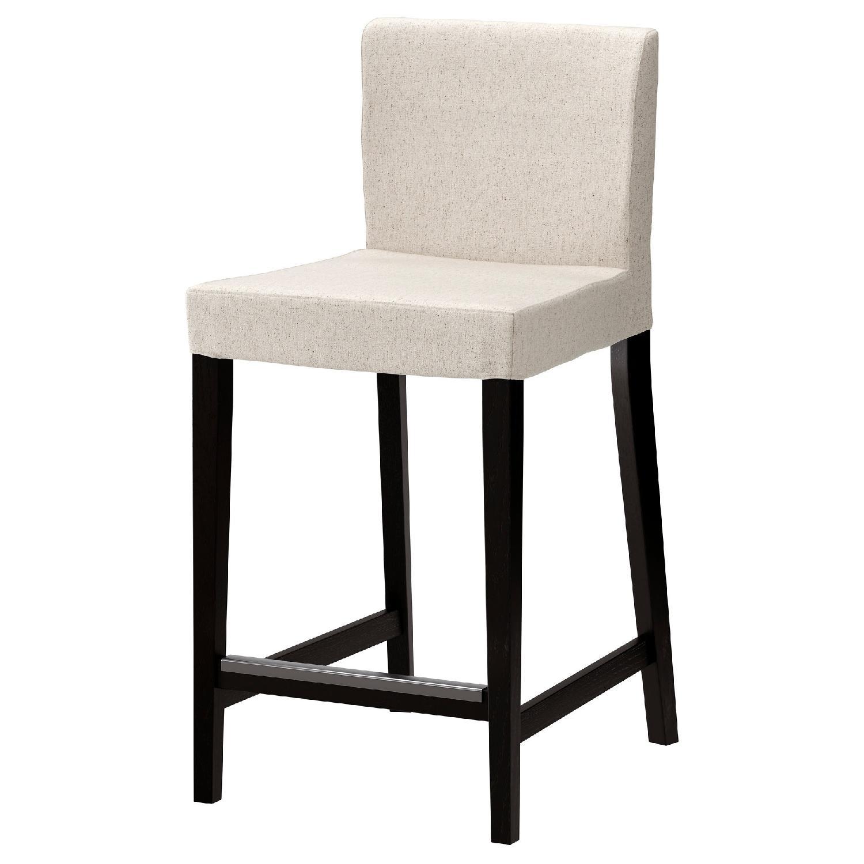 Ikea Solid Wood Bar Stools w/ Backrest & Beige Linen Covers
