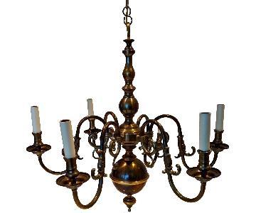 12-Arm Antique Dutch Baroque Style Copper Brass Chandelier