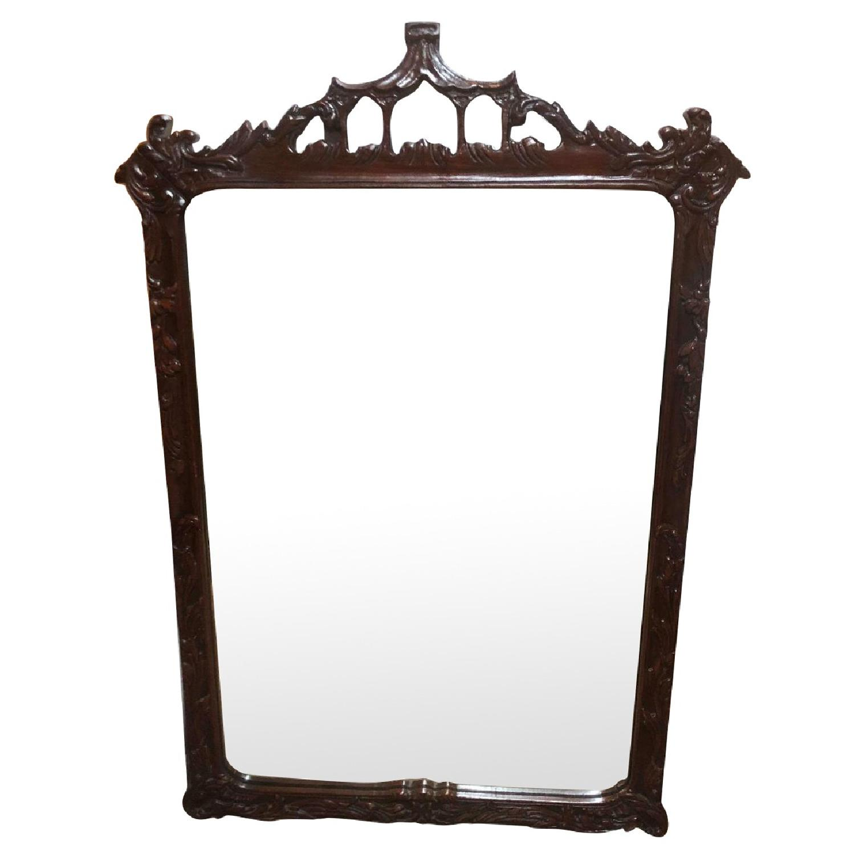 Antique 1930s Cherry Wood Framed Mirror