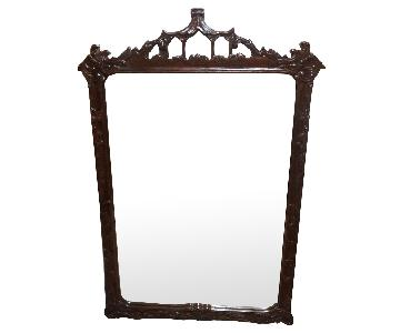 Antique 1930s Cherry Wood Framed Mirror