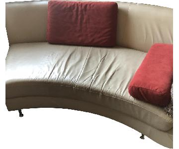 American Leather Modern Curved Sectional Sofa