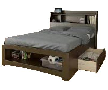 Nexera Full Size Platform Bed w/ Bookcase Headboard