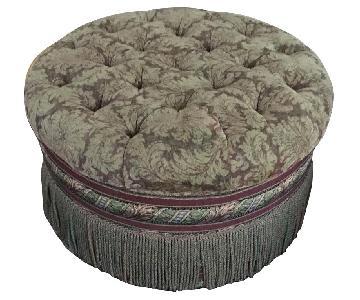 Round Tufted Cocktail Ottoman w/ Bullion Fringe & 2 Pillows