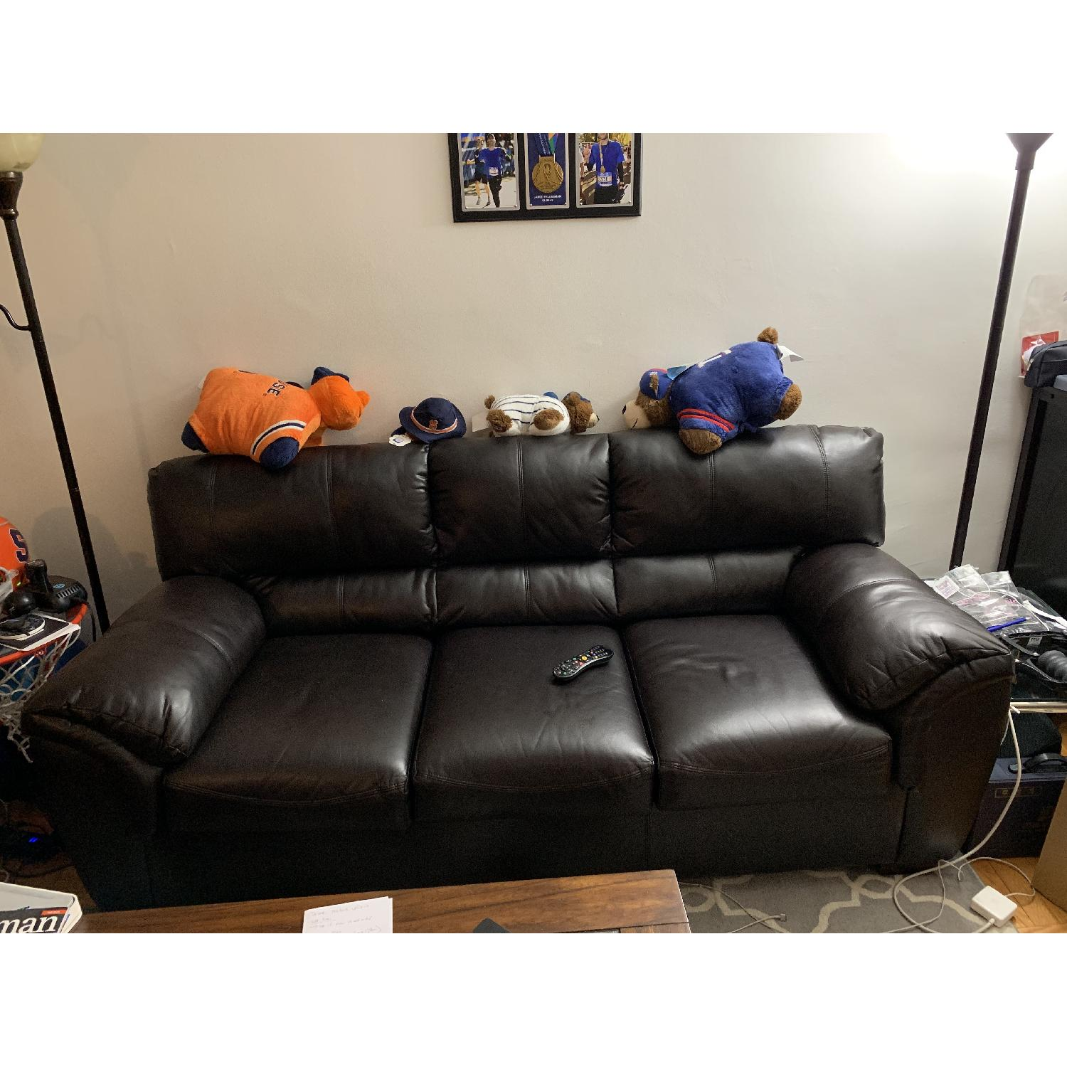Bob S Dark Brown Faux Leather 3 Seater Sofa Aptdeco
