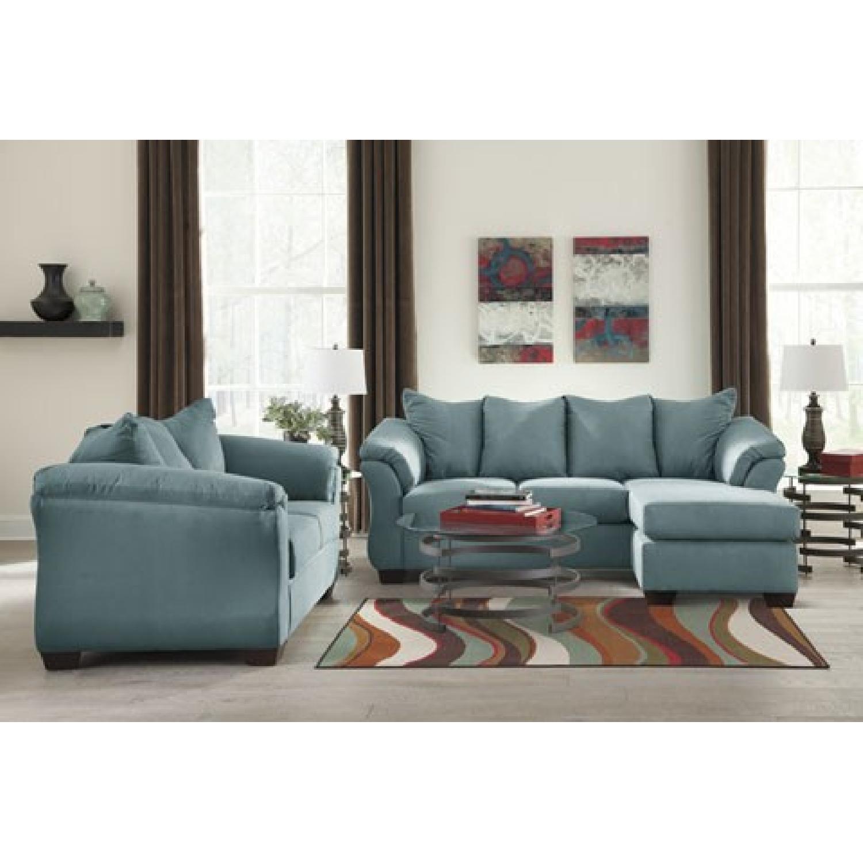 Surprising Ashleys Darcy Sectional Sofa In Sky Blue Aptdeco Dailytribune Chair Design For Home Dailytribuneorg