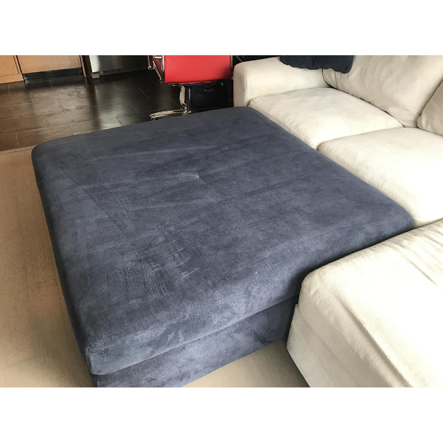 Living Spaces Oversize Blue Ottoman - image-2