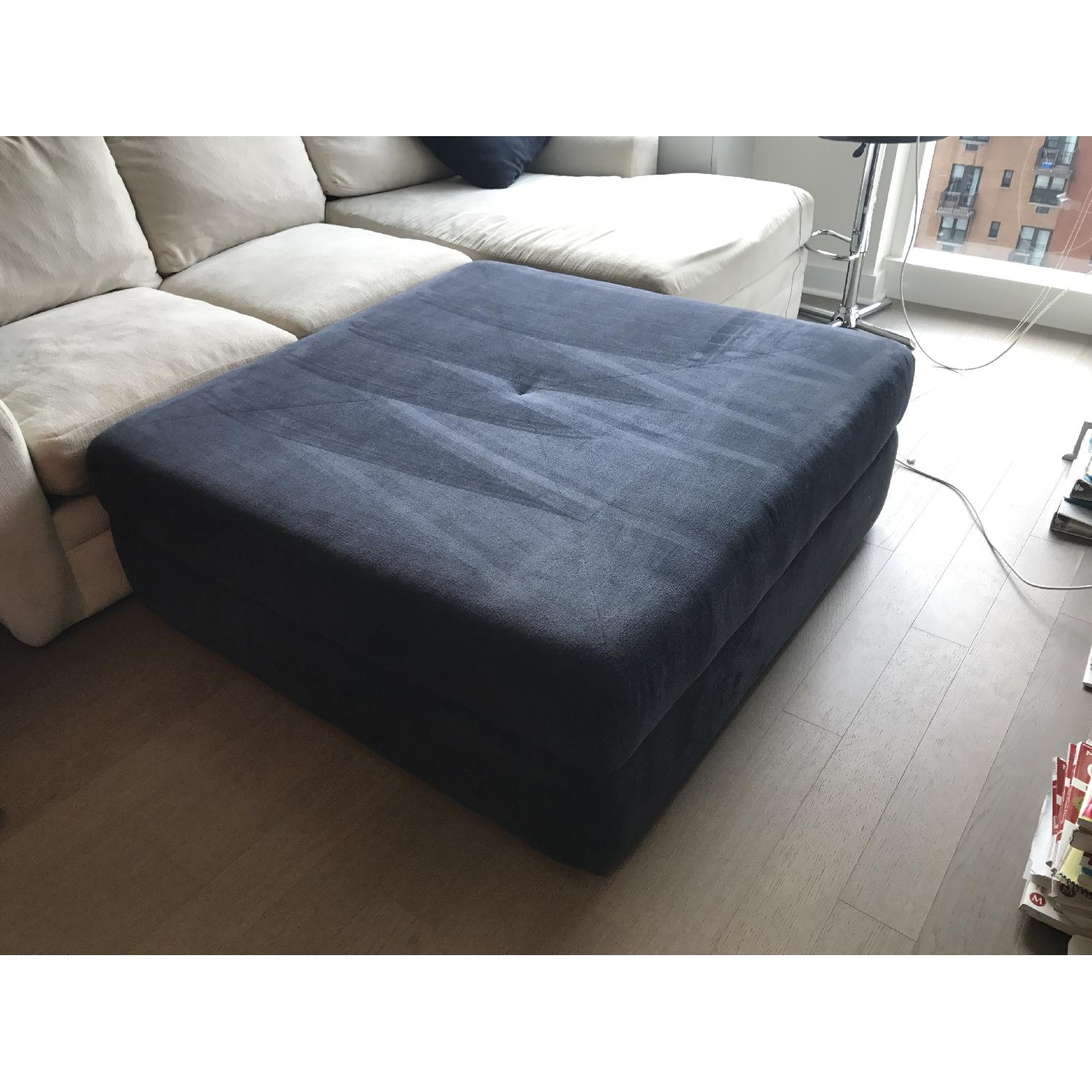 Living Spaces Oversize Blue Ottoman - image-3