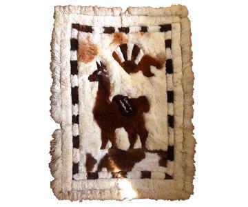 Leather Rug w/ Fur Camel Design
