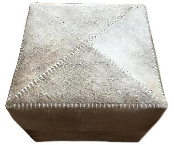 Jamie Young Company Large Grey Hide Ottoman
