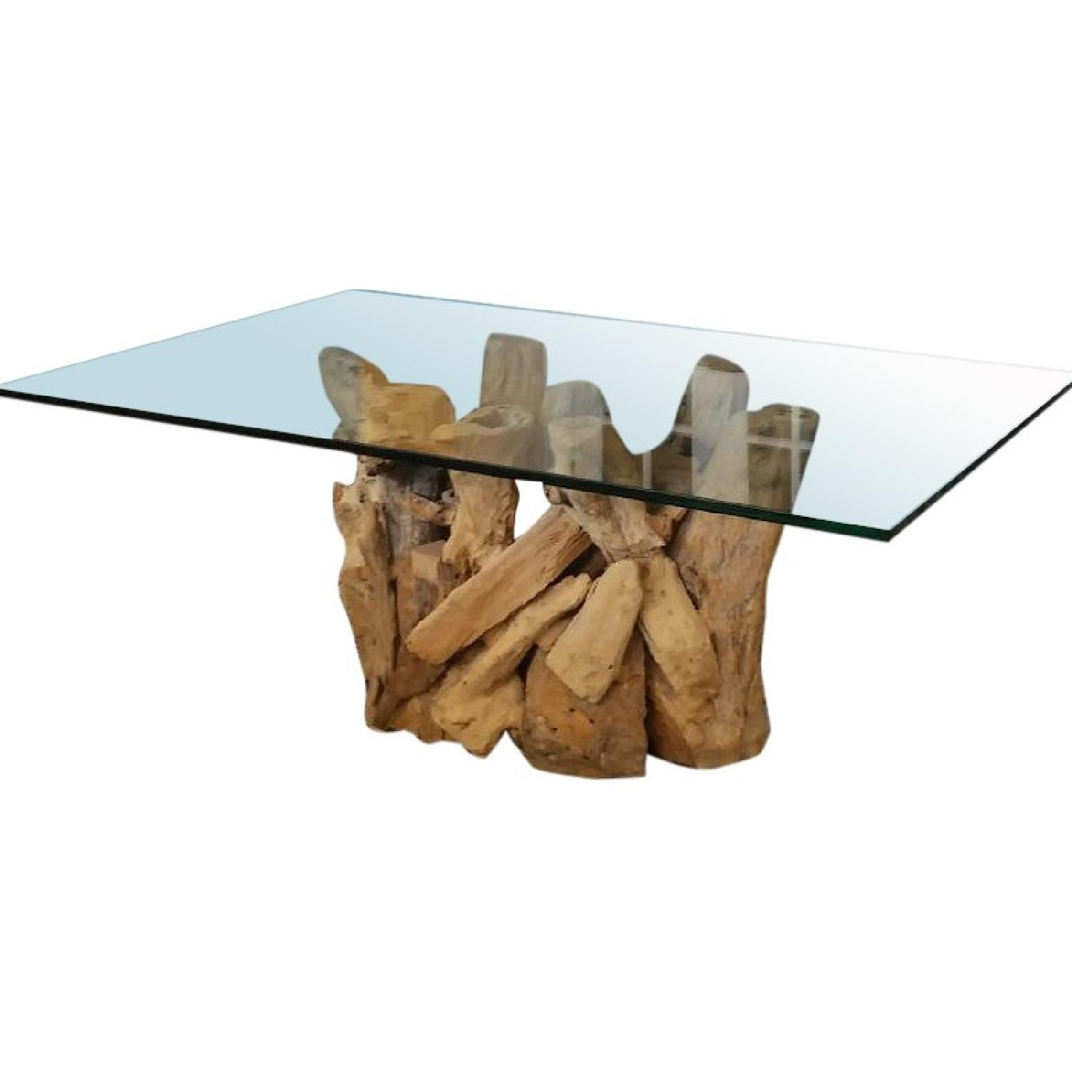 Picture of: Crate Barrel Driftwood Base Glass Top Coffee Table Aptdeco