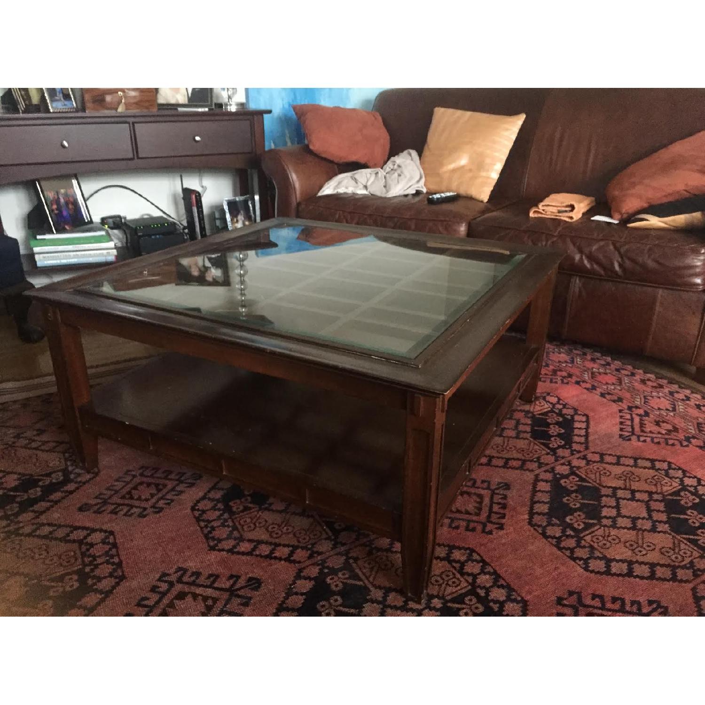 Vintage Dark Wood Coffee Table - image-1