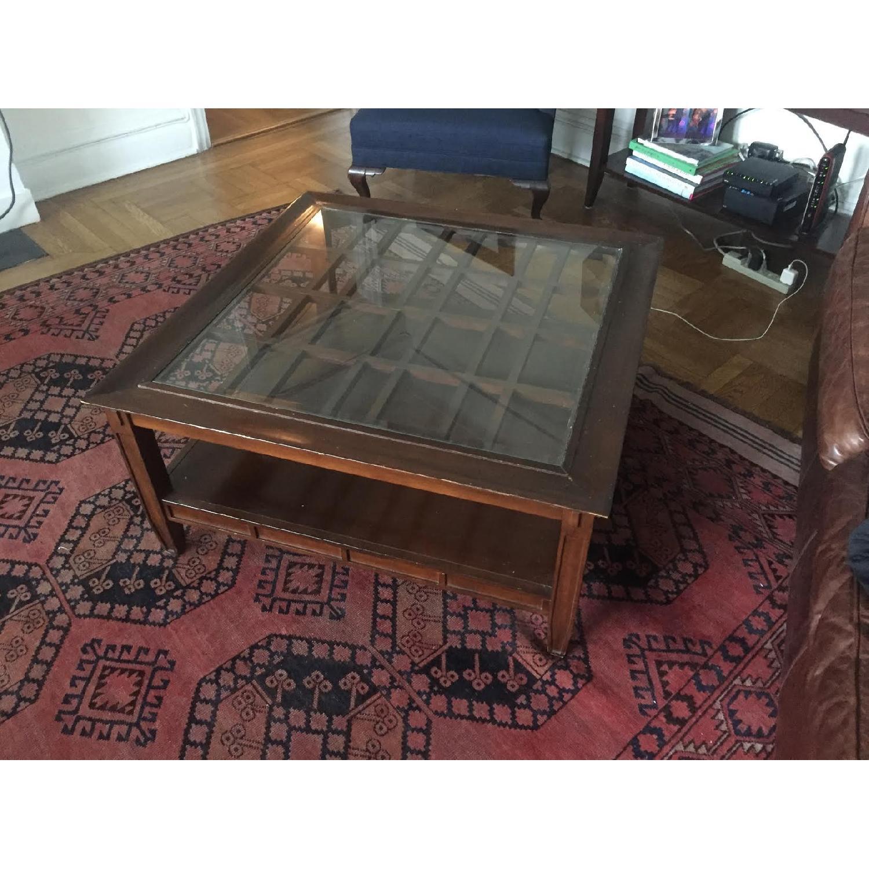 Vintage Dark Wood Coffee Table - image-3