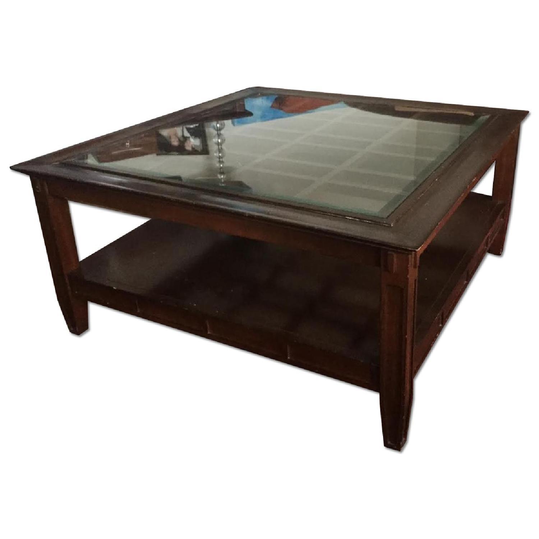 Vintage Dark Wood Coffee Table - image-0