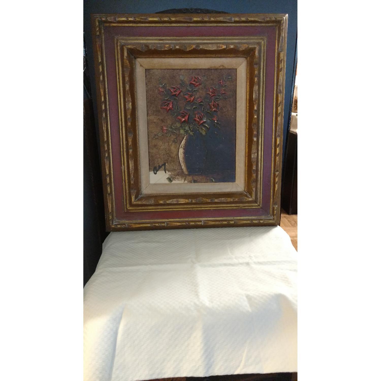 Art- Flower w/ Vase Oil Collage Painting - image-1