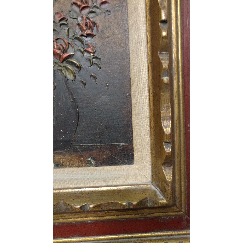 Art- Flower w/ Vase Oil Collage Painting - image-3