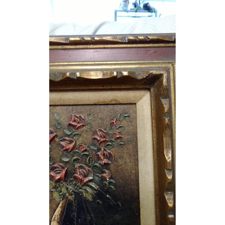 Art- Flower w/ Vase Oil Collage Painting - image-5