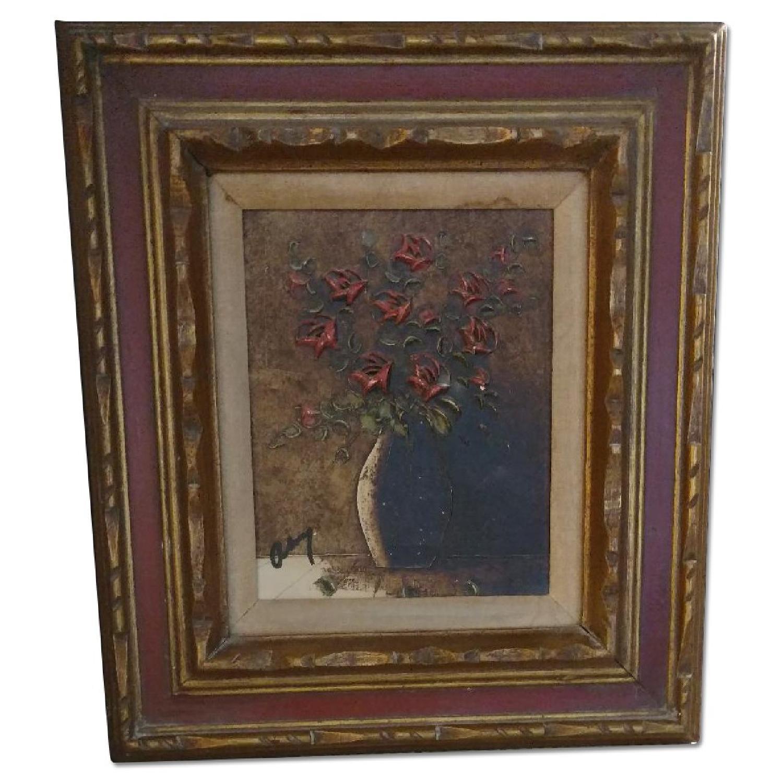 Art- Flower w/ Vase Oil Collage Painting - image-0