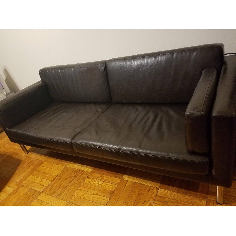 Ikea Black Leather Sofa - image-1