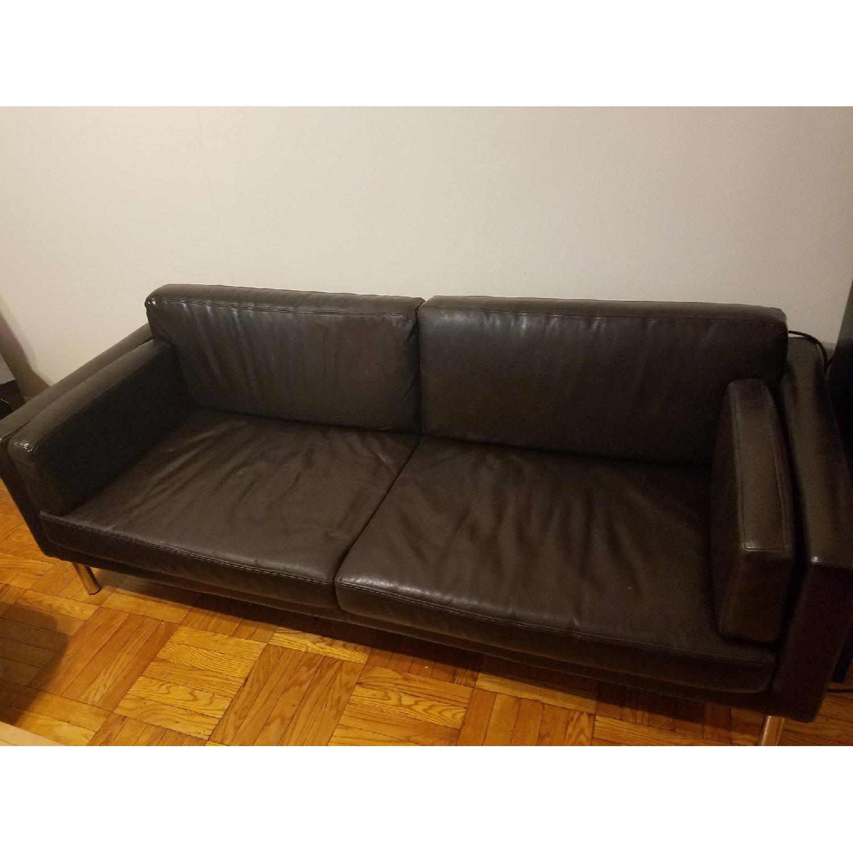 Ikea Black Leather Sofa - image-2