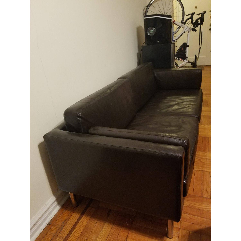 Ikea Black Leather Sofa - image-3