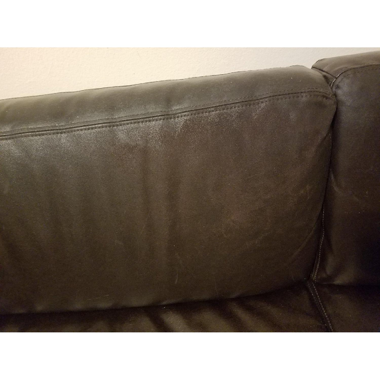 Ikea Black Leather Sofa - image-5
