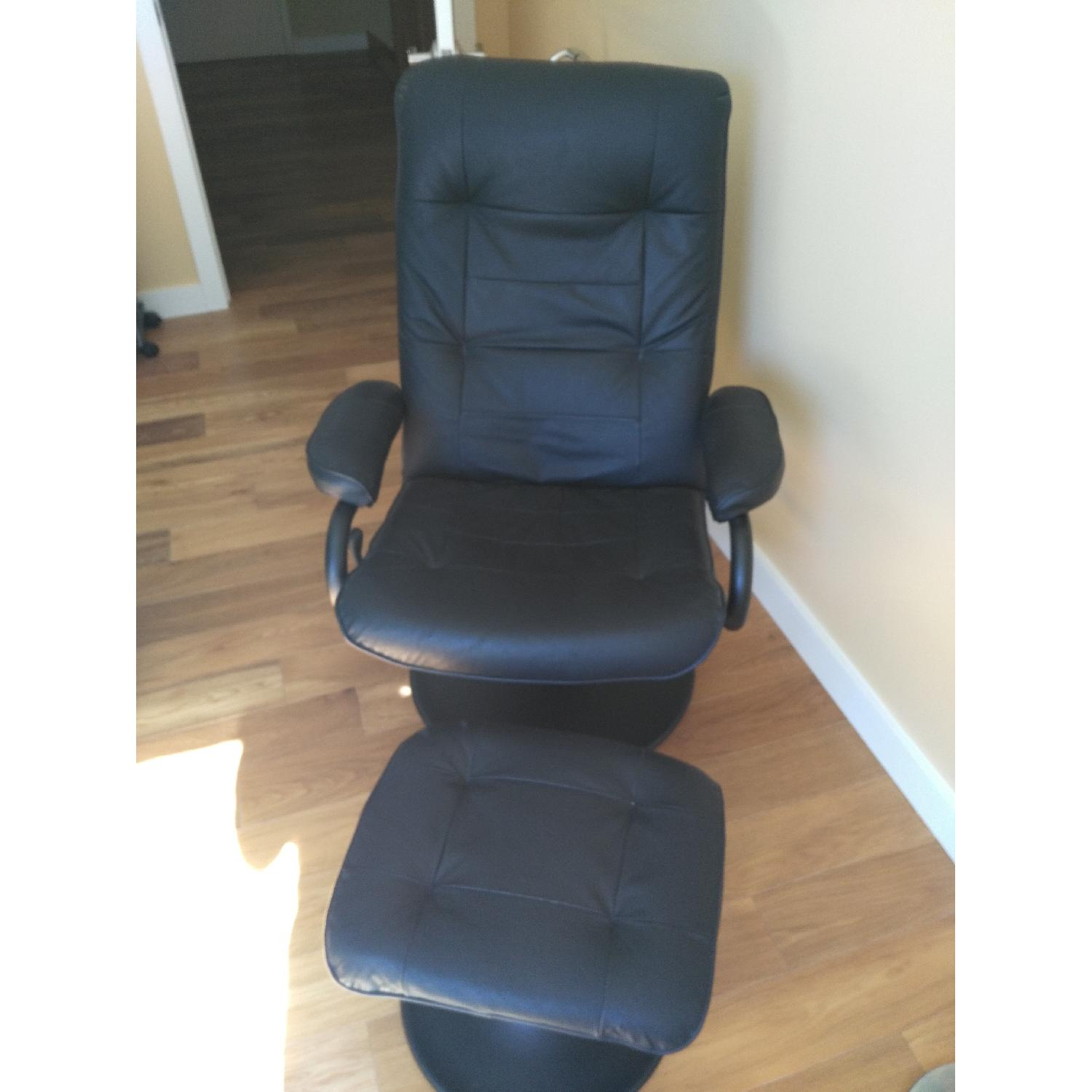 Black Leather Recliner & Footstool - image-1