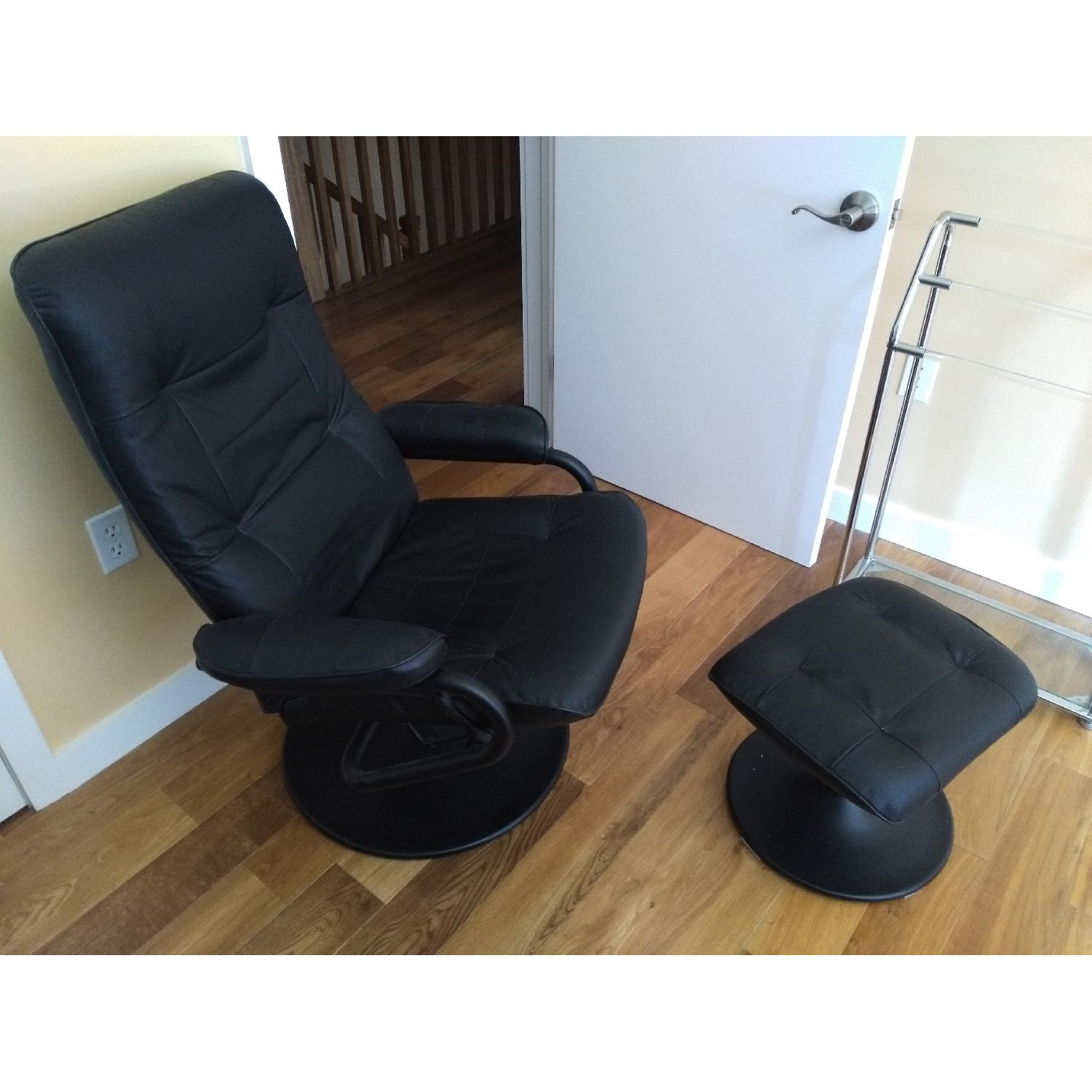 Black Leather Recliner & Footstool - image-2