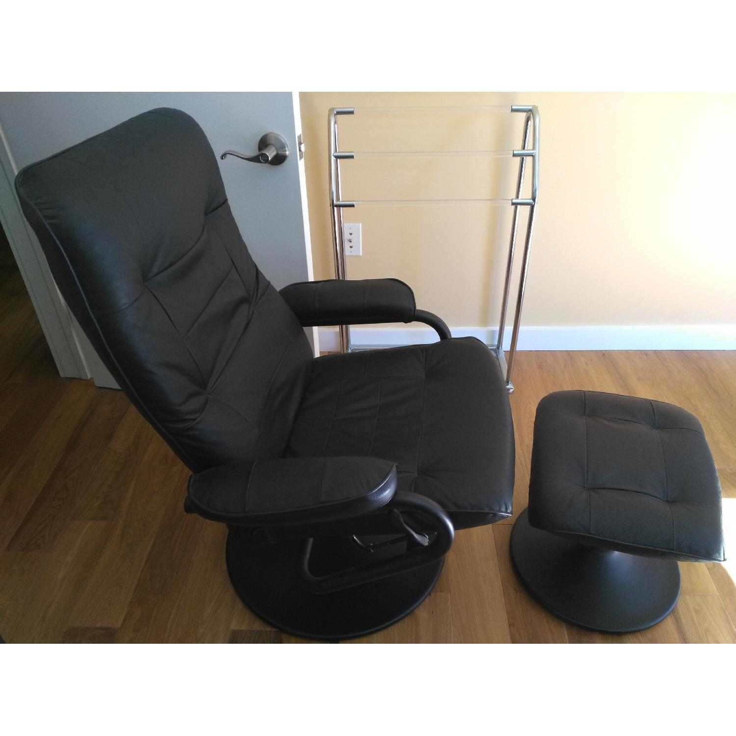 Black Leather Recliner & Footstool - image-3
